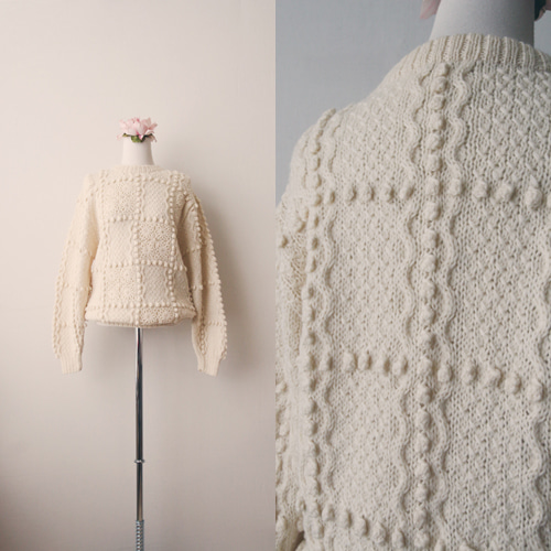 [vintage] flower crochet sweater