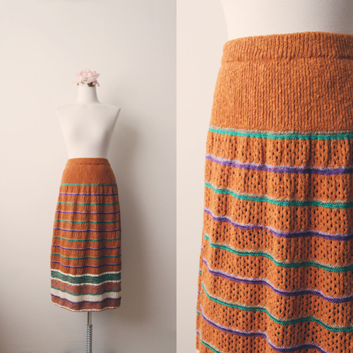 [vintage] pumpkin knit skirt