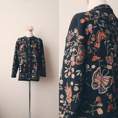 [vintage] butterfly embroidery cardigan