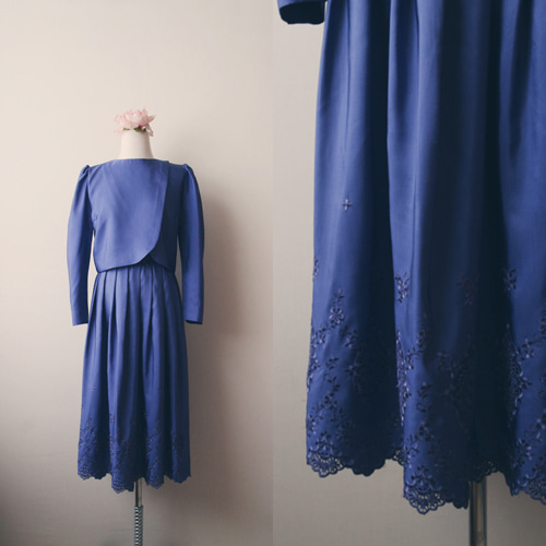[vintage] noble blue eyelet dress