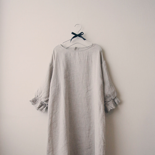 [by mani] balloon sleeves linen dress : gray