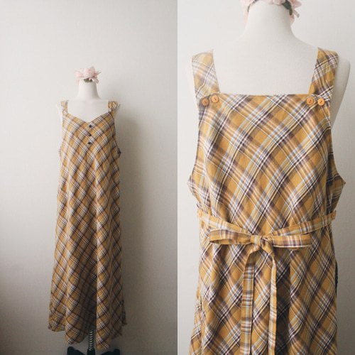 [vintage] cheese check strap dress