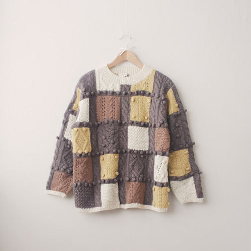 [vintage] cozy brown patchwork sweater