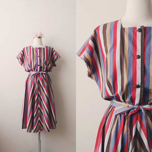 [vintage] havana stripe dress