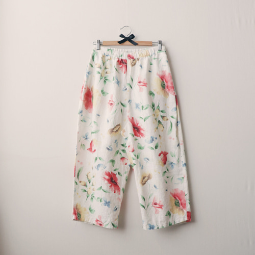 [by mani] watercolor floral linen pants
