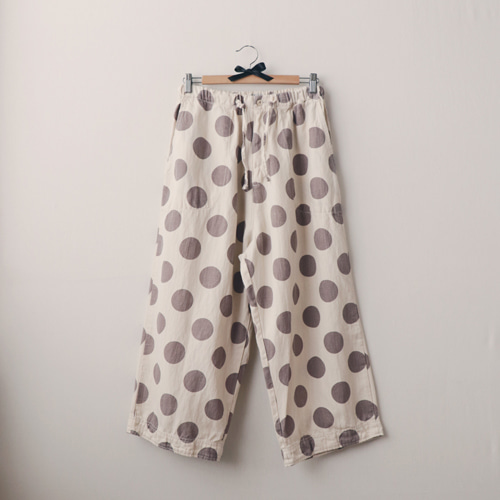 [by mani] dot linen wide pants