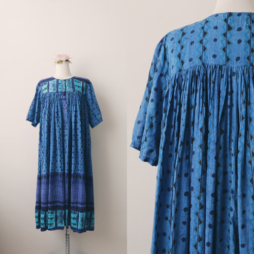 [vintage] blue ethnic smock dress