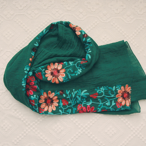 [NEW] flower embroidery scarf