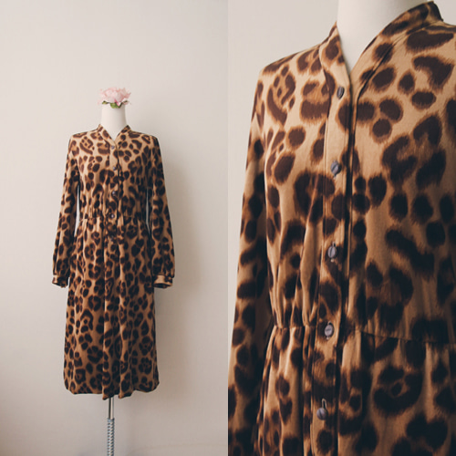 [vintage] leopard day dress