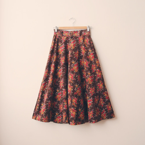[vintage] country flower corduroy skirt