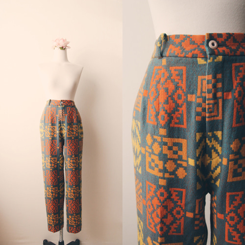 [vintage] exotic pattern wool pants