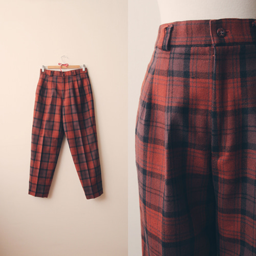 [vintage] brick check wool pants