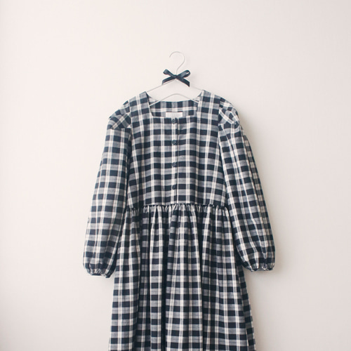 [by mani] amelie check dress (black) (재입고)