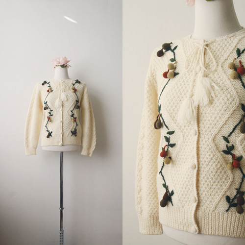 [vintage] fruit embroidery cardigan