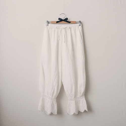 [by mani] antique embroidery linen pants (white)