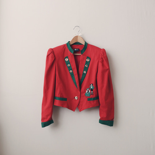 [vintage] euro classic linen jacket (red)