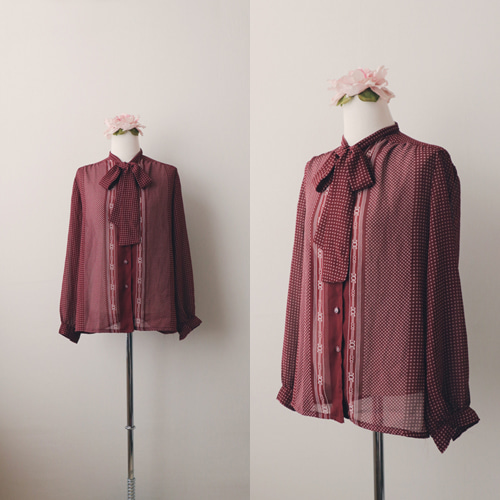 [vintage] retro burgundy bow blouse