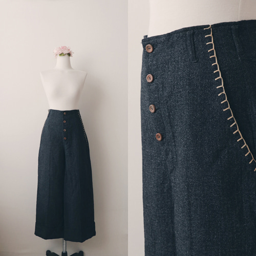 [vintage] stitch pocket wool pants