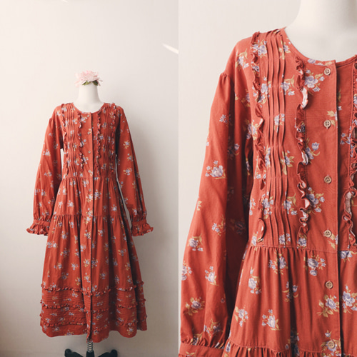 [vintage] romantic frill floral dress
