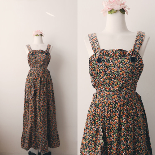 [vintage] flower corduroy suspender dress