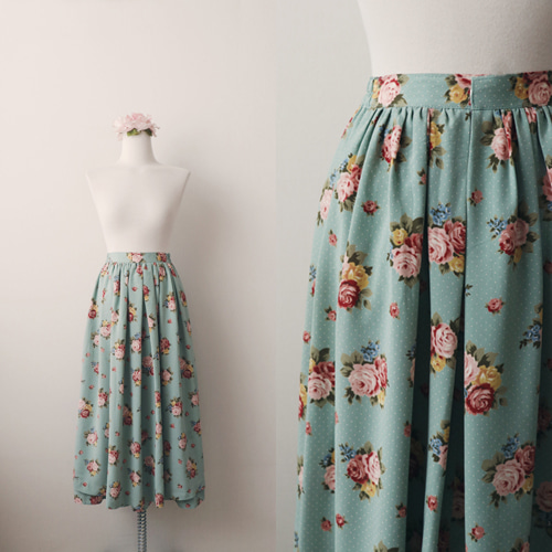 [vintage] rosie flower layered skirt