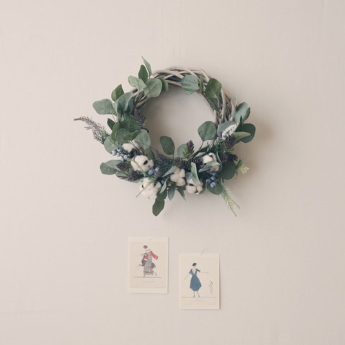 cotton flower wreath